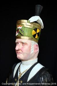 Bergmann (Detail) von Joachim Lange, Gesicht geschnitzt von Ingolf Kneisel